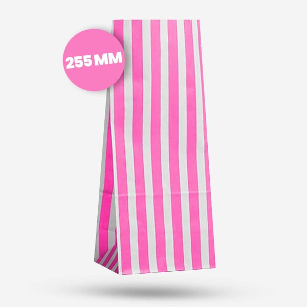 Papiertüten Blockboden rosa-weiß gestreift