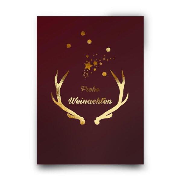 Postkarte Frohe Weihnachten Geweih rot gold