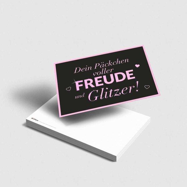 Postkarte Freude und Glitzer [anthrazit-rosa]
