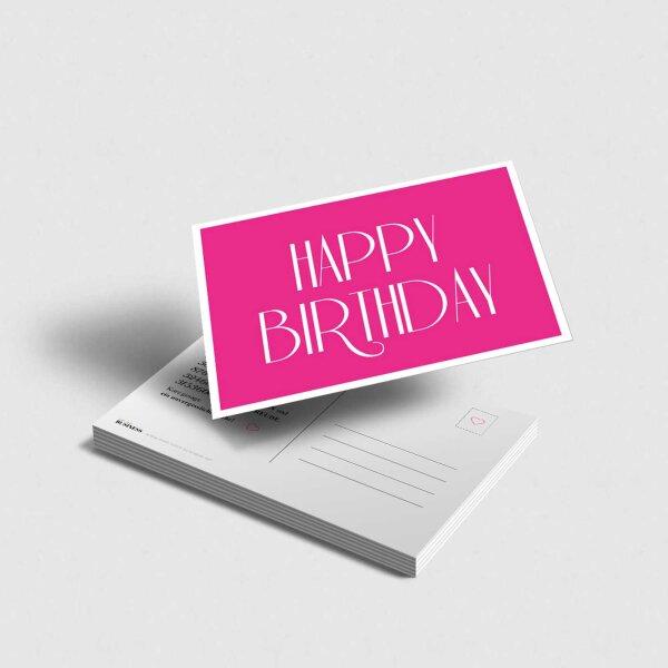 Postkarte Happy Birthday pink
