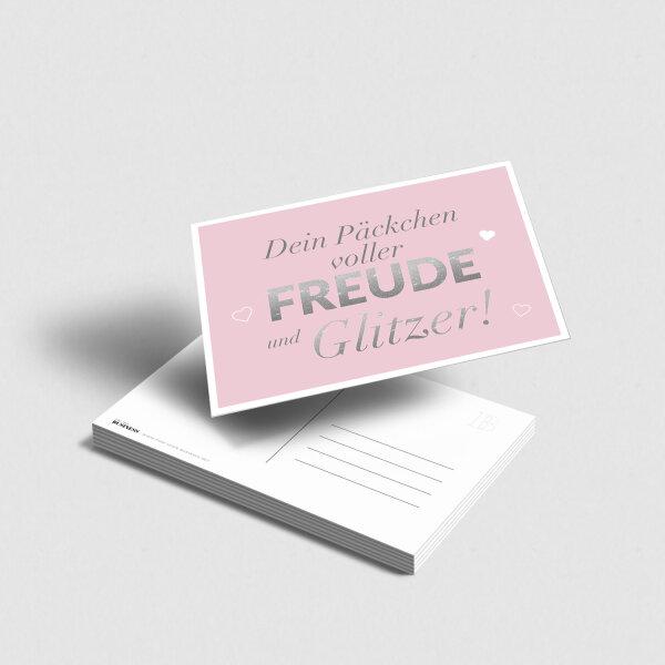 Postkarte Freude und Glitzer [rosa]