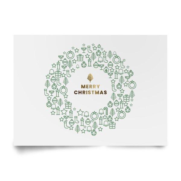 Postkarte Merry Christmas // weiß