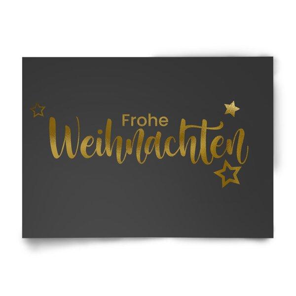 Postkarte Frohe Weihnachten sxhwarz-gold
