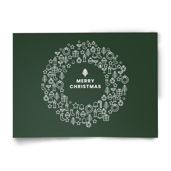 Postkarte Merry Christmas // grün